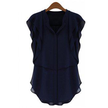 Stylish Short Sleeve V-Neck Solid Color Chiffon Women's Blouse - PURPLISH BLUE S