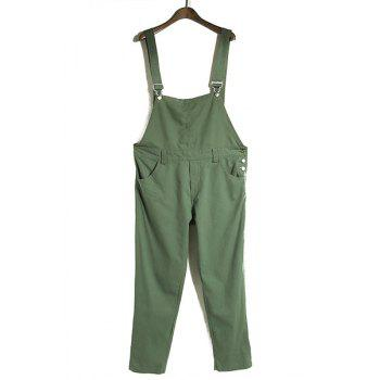 Simple Solid Color Loose Overalls For Women