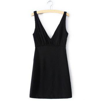 Sexy Black Plunging Neck Sleeveless Mini Dress For Women - BLACK BLACK