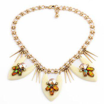 Flower Rhinestone Pendant Necklace - AS THE PICTURE