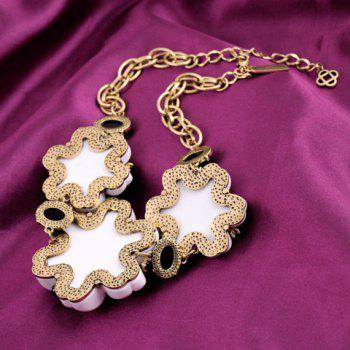 Flower Rhinestone Decorated Chic Necklace For Women -  AS THE PICTURE