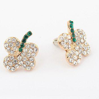 Pair of Floral Rhinestone Inlaid Stud Earrings