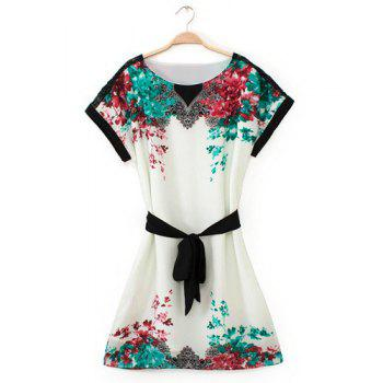 Stylish Floral Print Round Collar Belt Design Short Sleeve Chiffon Dress For Women