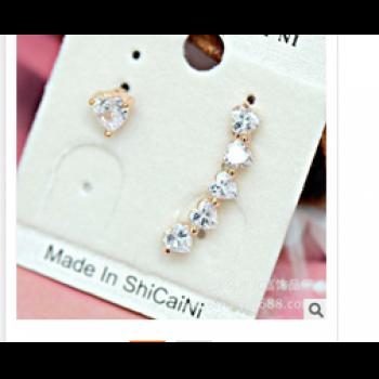 Pair of Heart Shape Rhinestone Inlaid Earrings