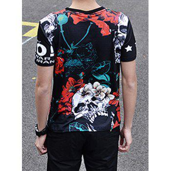 Fashion 3D Flower and Skull Print Round Neck Short Sleeve Slimming Men's Polyester T-Shirt - 2XL 2XL