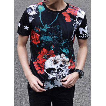 Fashion 3D Flower and Skull Print Round Neck Short Sleeve Slimming Men's Polyester T-Shirt - BLACK 2XL