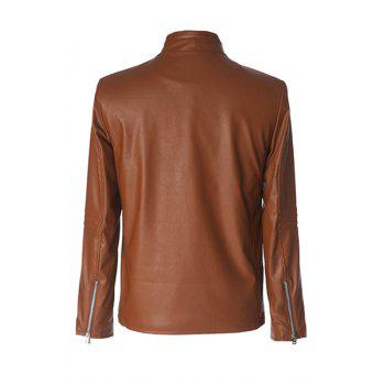 Fashion Oblique Zipper Covered Button Design Stand Collar Long Sleeve Slimming Men's PU Leather Jacket - M M