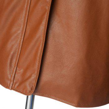 Fashion Oblique Zipper Covered Button Design Stand Collar Long Sleeve Slimming Men's PU Leather Jacket - BROWN M