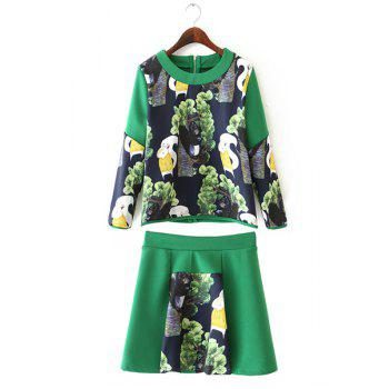 Refreshing Squirrel Print Scoop Neck 3/4 Sleeve Sweatshirt and Skirt Twinset For Women