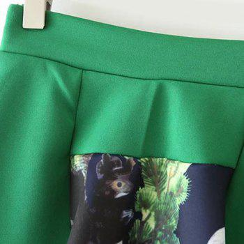 Refreshing Squirrel Print Scoop Neck 3/4 Sleeve Sweatshirt and Skirt Twinset For Women - GREEN S