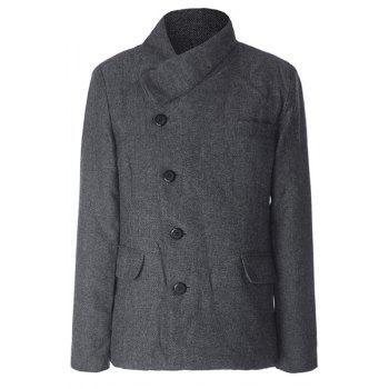 Buy Stylish Stand Collar Herringbone Print Slimming Inlcined Button Fly Long Sleeves Men's Coat GRAY