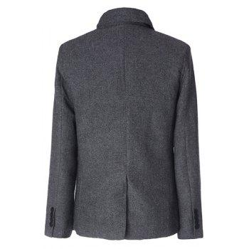 Stylish Stand Collar Herringbone Print Slimming Inlcined Button Fly Long Sleeves Men's Coat - 2XL 2XL