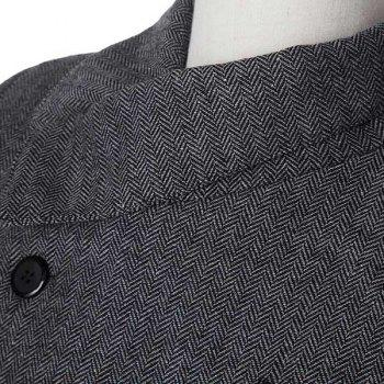 Stylish Stand Collar Herringbone Print Slimming Inlcined Button Fly Long Sleeves Men's Coat - GRAY 2XL
