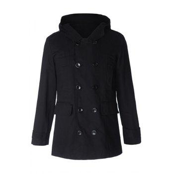 Fashion Large Hooded Slimming Solid Color Pocket Embellished Long Sleeves Men's Coat - BLACK L