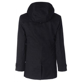Fashion Large Hooded Slimming Solid Color Pocket Embellished Long Sleeves Men's Coat - XL XL