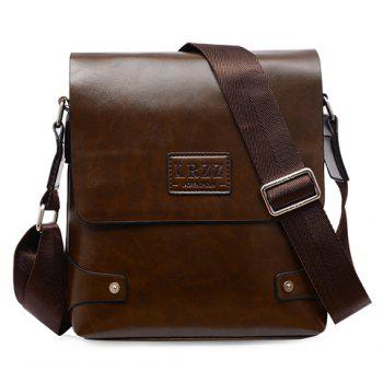 Faux Leather Messenger Bag - DEEP BROWN DEEP BROWN
