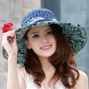 Bohemian Style Flower and Vortex Print Bowknot Decorated Straw Hat For Women