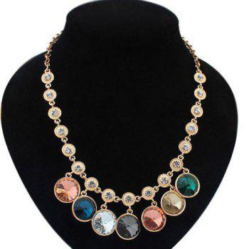 Retro Faux Gem Round Shape Necklace For Women - COLOR ASSORTED COLOR ASSORTED