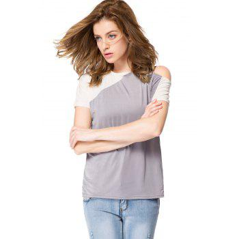 Stylish Jewel Neck Color Block Hollow Out Blouse For Women - XL XL