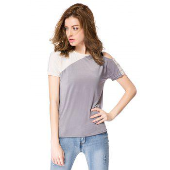 Stylish Jewel Neck Color Block Hollow Out Blouse For Women - AS THE PICTURE AS THE PICTURE