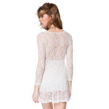 Sexy Long Sleeve Plunging Neckline A-Line Lace Dress For Women - WHITE M