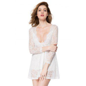 Sexy Long Sleeve Plunging Neckline A-Line Lace Dress For Women - WHITE WHITE