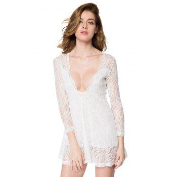 Sexy Long Sleeve Plunging Neckline A-Line Lace Dress For Women - WHITE L