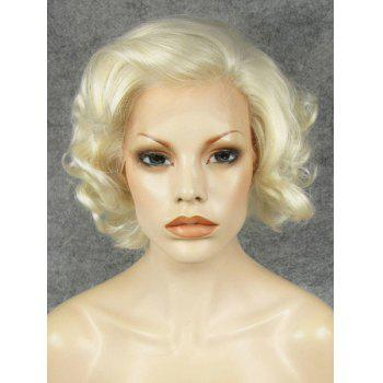 Trendy Fluffy Elegant Light Blonde Short Wavy Heat Resistant Synthetic Women's Wig