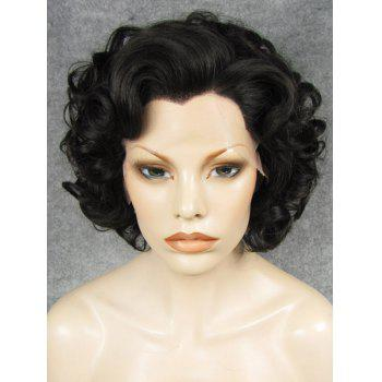 Trendy Fluffy Elegant Natural Black Short Wavy Heat Resistant Synthetic Women's Wig