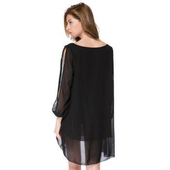 Stylish V-Neck Hollow Out 3/4 Sleeve Chiffon Dress For Women - BLACK M