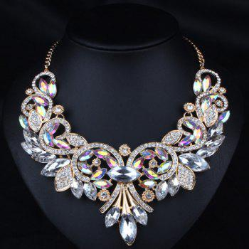 Diamante Rhinestone Floral Statement Necklace