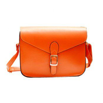 Retro Solid Color and Buckle Design Crossbody Bag For Women