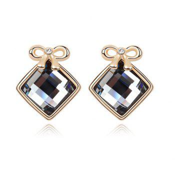 Pair of Luxurious Gold Plated Bowknot and Square Women's Earrings