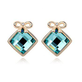 Pair of Luxurious Gold Plated Bowknot and Square Women's Earrings - RANDOM COLOR
