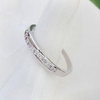 Simple Zircon Decorated Women's Ring - WHITE GOLDEN ONE-SIZE