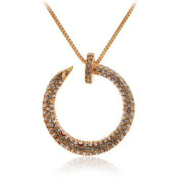 Trendy Rhinestone Round Sweater Chain Necklace For Women - GOLDEN GOLDEN