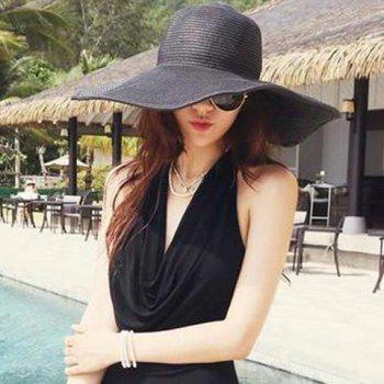 Chic Wide Brim Candy Color Women's Straw Hat