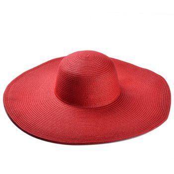 Chic Wide Brim Candy Color Women's Straw Hat -  RANDOM COLOR
