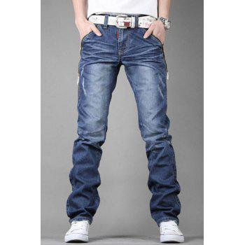 Stylish Personality Zipper Design Pocket Slimming Bleach Wash Straight Leg Men's Jeans