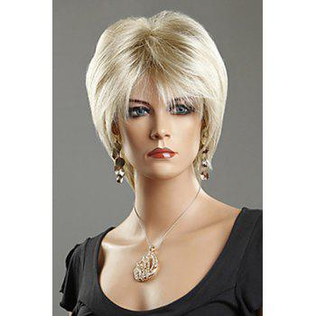 Chic Short Silver Straight Heat-Resistant Synthetic Wig For Women - LIGHT GOLD LIGHT GOLD