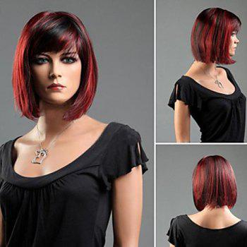 Charming Short Straight Synthetic Wig With Side Bang For Women -  COLORMIX