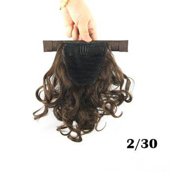 Cute Fluffy Light Brown Short Wave Heat Resistant Women's Synthetic Ponytail - LIGHT BROWN