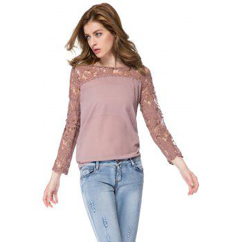 Trendy Long Sleeve Round Collar Spliced Hollow Out Design Blouse - AS THE PICTURE AS THE PICTURE