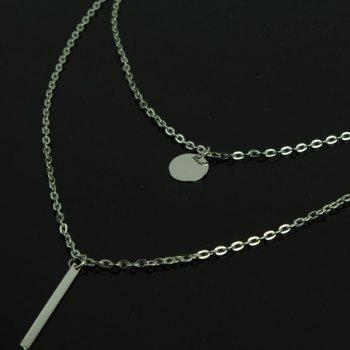 Round Stick Pendant Necklace -  SILVER