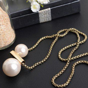 Round Faux Pearl Sweater Chain - COPPER COLOR