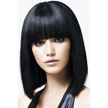 Medium Straight Wave Black Synthetic Women's Wig With Full Bang