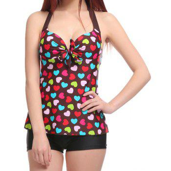 Stylish Halter Heart Print Two-Piece Swimsuit For Women
