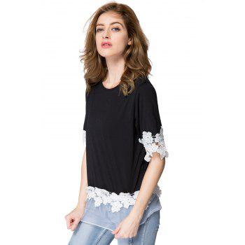 Stylish Scoop Neck 1/2 Sleeve Flower Pattern Spliced Women's T-Shirt - ONE SIZE(FIT SIZE XS TO M) ONE SIZE(FIT SIZE XS TO M)