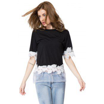 Stylish Scoop Neck 1/2 Sleeve Flower Pattern Spliced Women's T-Shirt - BLACK ONE SIZE(FIT SIZE XS TO M)