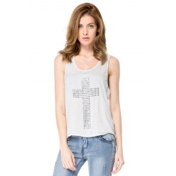 Stylish U Neck Rhinestones Cross Studded Tank Top For Women